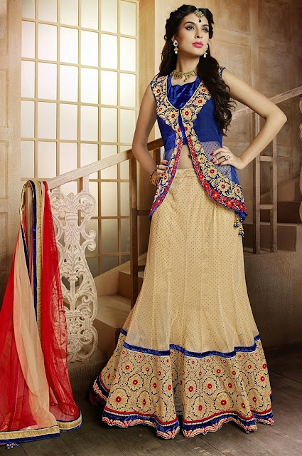 Cream Brocade Embroidered Ceremonial Wear Lehenga