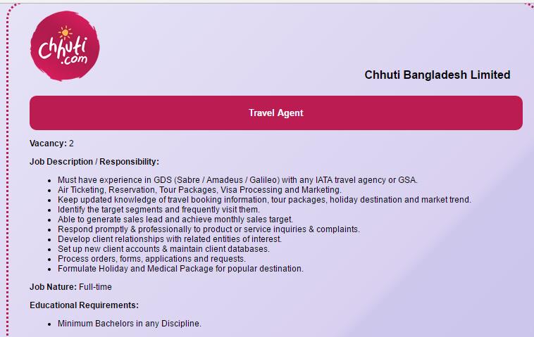Chhuti Bangladesh Limited - Position Travel Agent - Job Opportunity - travel agent job description