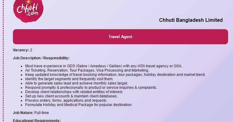 Chhuti Bangladesh Limited  Position Travel Agent  Job Opportunity