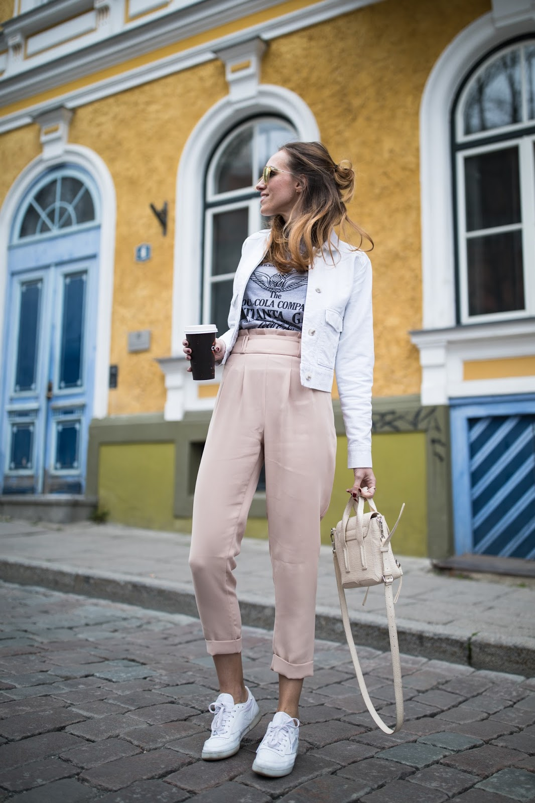 pink high waist pants outfit