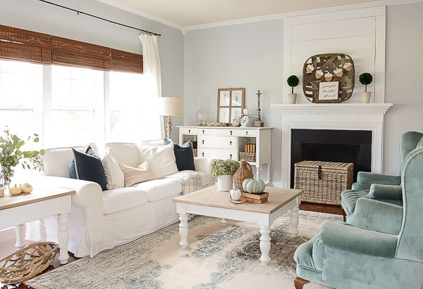 living room with neutral fall style