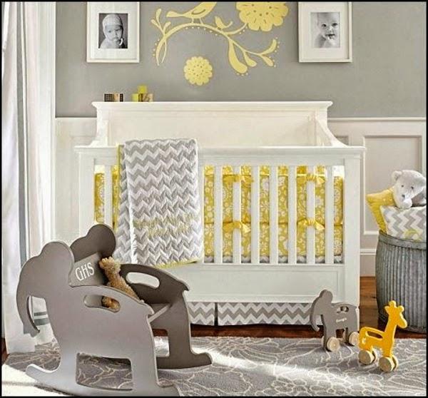 dormitorio bebé gris amarillo