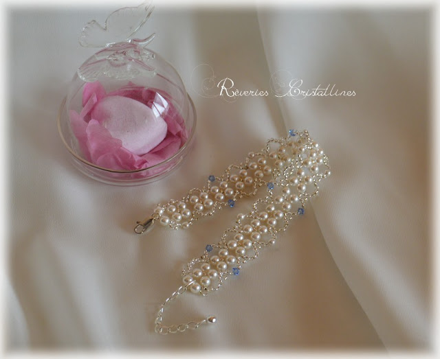 bracelet mariage tissé blanc et bleu