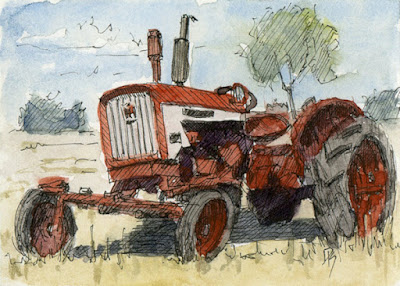 art card ACEO tractor Farmall vintage red