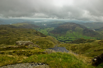 View from Pavey Ark of Great Langdale and Lake Windermere
