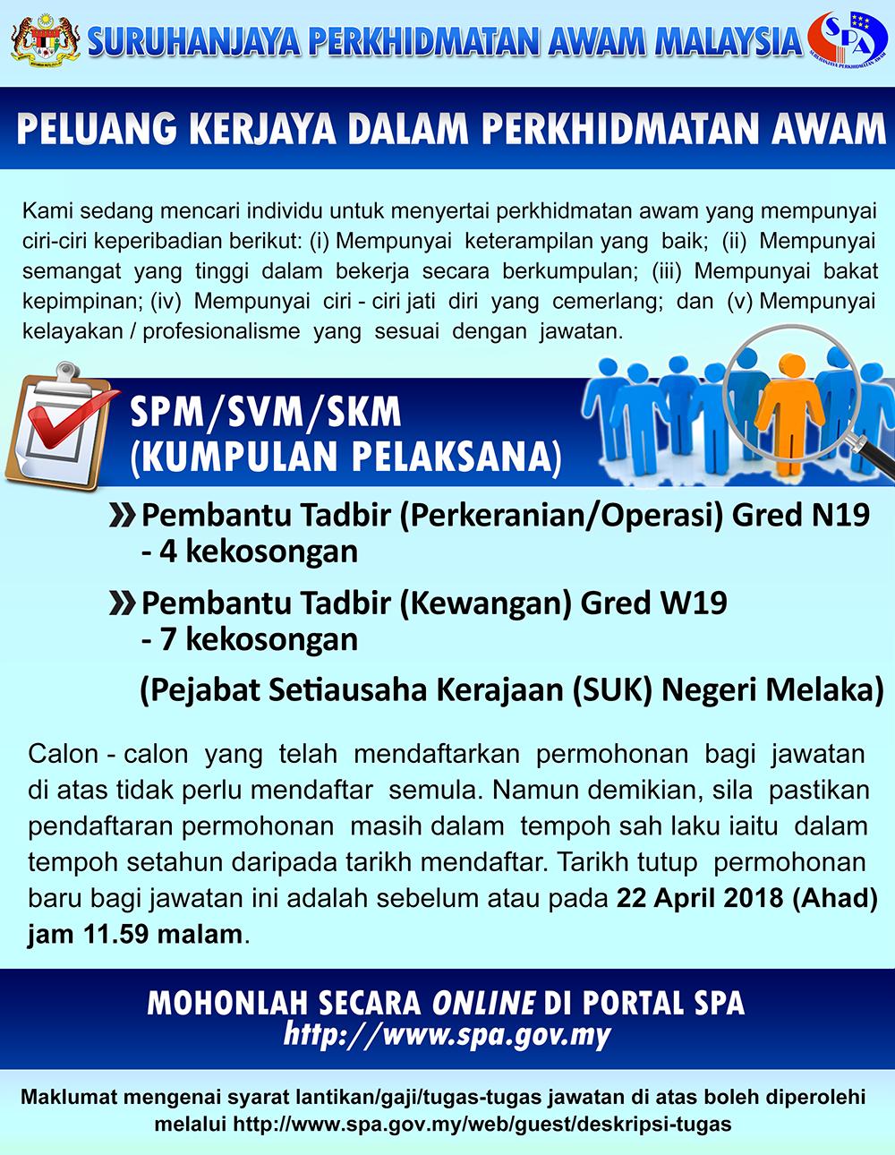 Jawatan Kosong 2018 Suk Melaka Kelayakan Minimum Spm