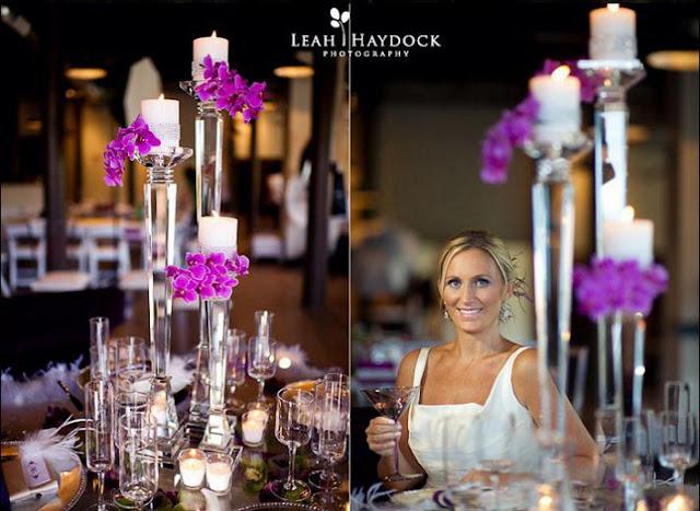 mariage violet centre de table orchidee
