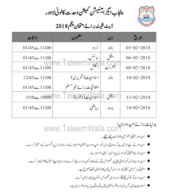 PEC 5th Class Date Sheet 2018 Download - All Punjab Boards Datesheets Online