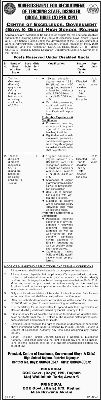 Government Jobs in Rojhan April 2019  in Boys & Girls Schools