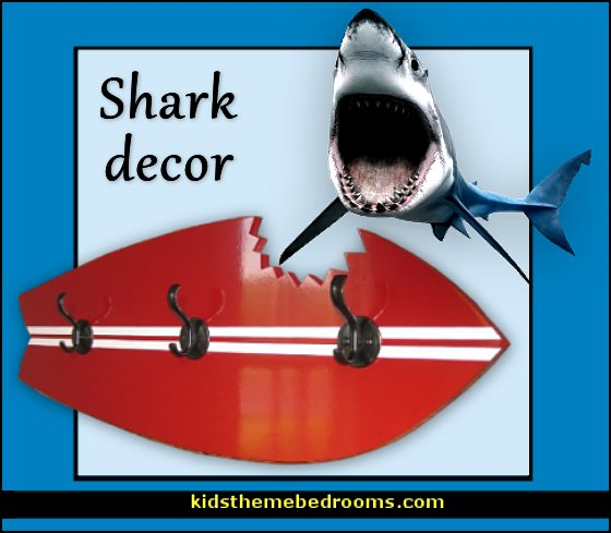 shark decor  Shark Bedrooms - shark murals - shark bedding  - Shark Decor - shark wall decals - shark theme bedroom decorating ideas - surf shack bedrooms - nautical bedrooms - 3d shark wall decorations - surfing theme bedrooms  - shark gifts - shark wall sculptures -  shark blankets - shark slippers