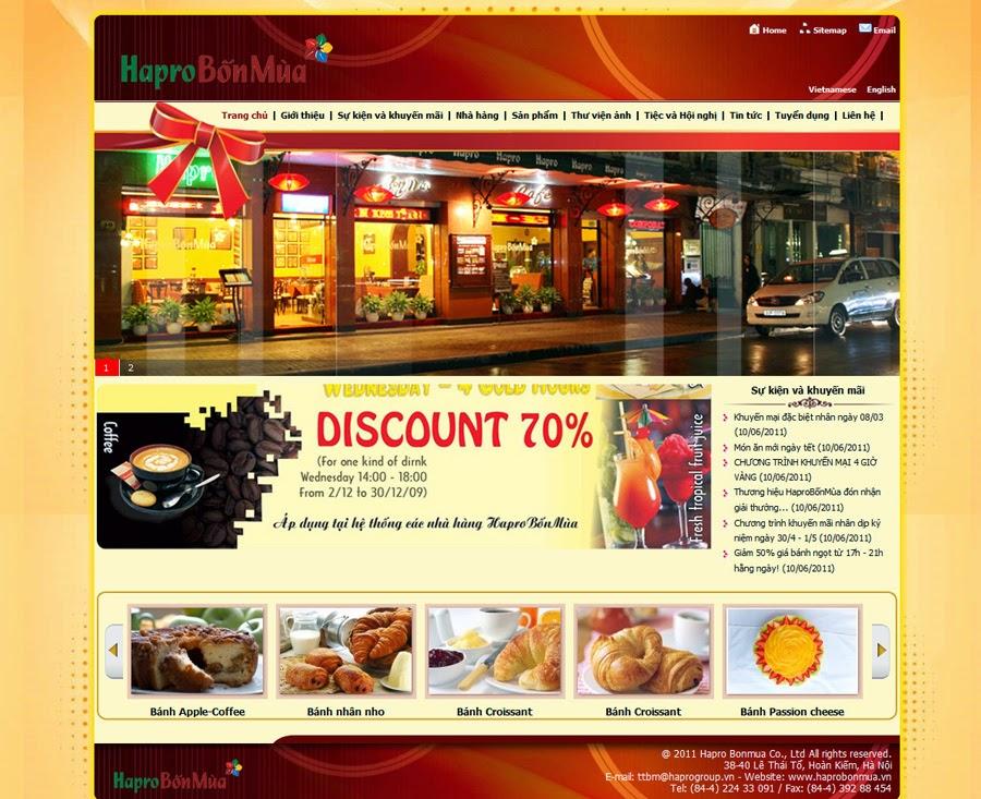 thiết kế website nhà hàng giá rẻ