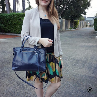 awayfromblue instagram Rebecca Minkoff regan with printed silk skirt jersey blazer for office