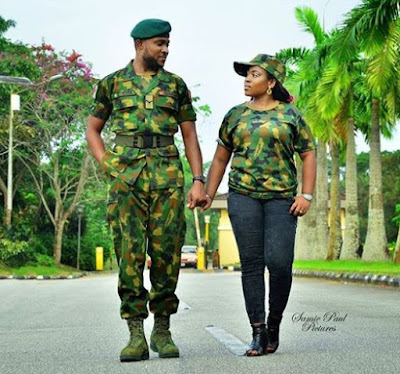 Beautiful Pre-Wedding Photos Of A Nigerian Military Couple