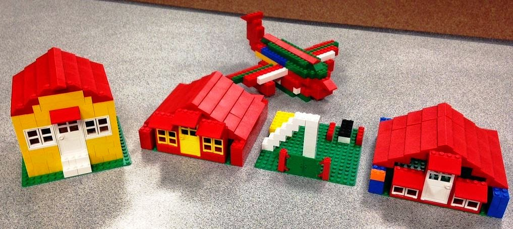 LEGO homes and airplane built at Chevy Chase