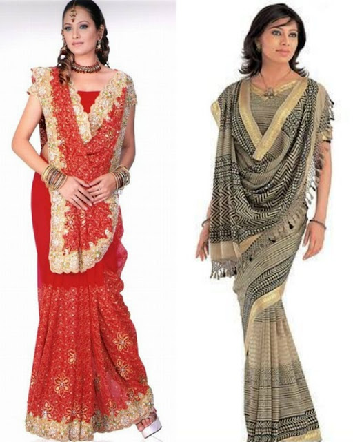 Rajrani style Gujarati Saree Drape
