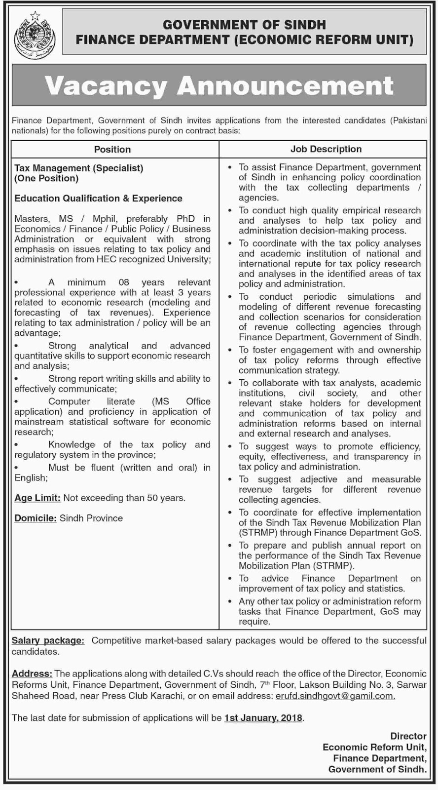 Jobs In Finance Department Sindh  Dec 2017