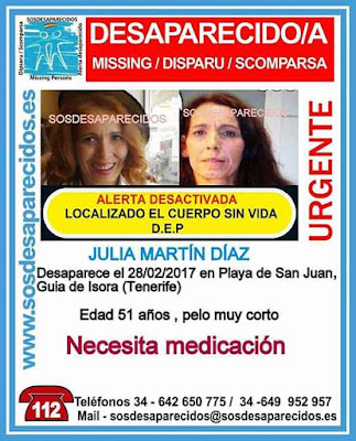 Hallada muerta la mujer desaparecida en Guía de Isora, Tenerife Julia Martín Díaz