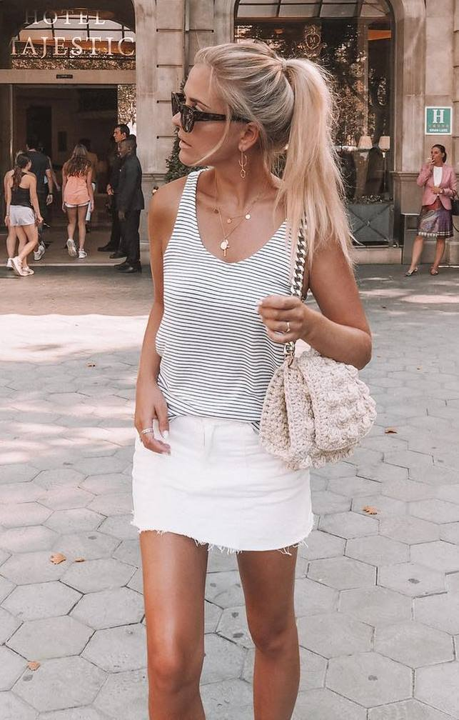 simple outfit_striped tank top + knit bag + white skirt