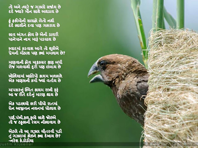 तो अने त्यारे ज गझलो सर्जाय छे Gujarati Gazal By Naresh K. Dodia