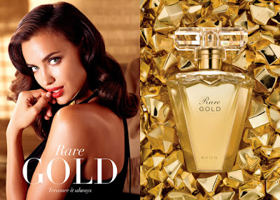 Irina Shaik with captivation in Avon's Rare Gold fragrance ad campaign