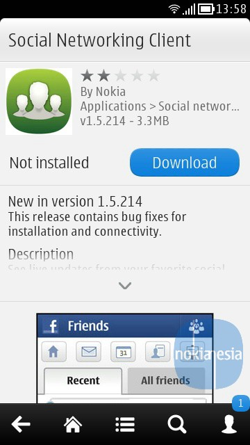Nokia Social Networking Client App 1 5 214 for Nokia Belle
