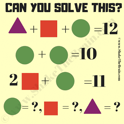 In this Mathematical Equations Brain Teaser, your challenge is to find the value of Triangle, Squre and Circle