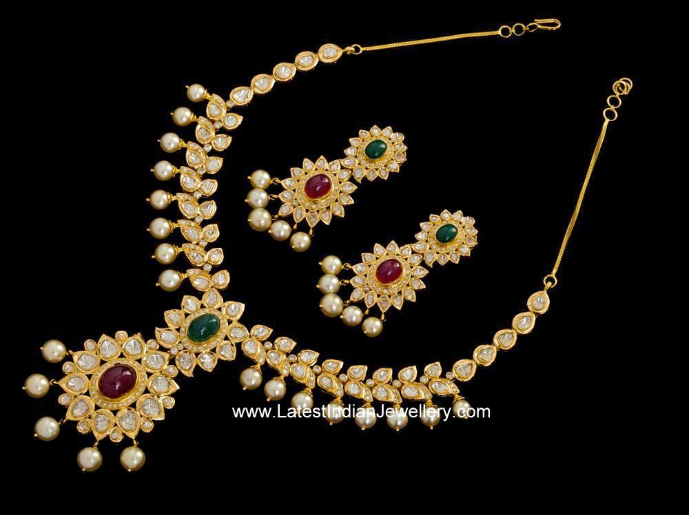 Beautiful Flat Diamond Necklace Set Latest Indian