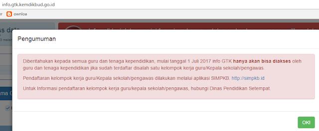 gambar Mulai 1 Juli 2017 info GTK hanya akan bisa diakses oleh guru Yang Terdaftar di Komunitas SIM PKB