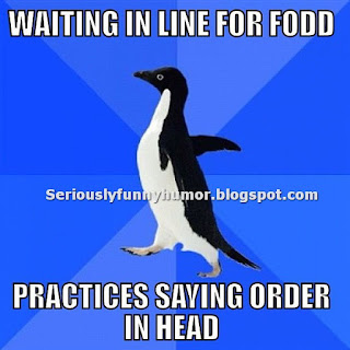 Funny penguin meme - Waiting in line for food, practices saying order in head