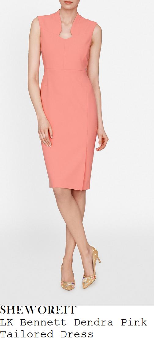 susanna-reid-lk-bennett-dendra-candy-coral-pink-sleeveless-cut-away-structured-neckline-high-waisted-tailored-shift-dress