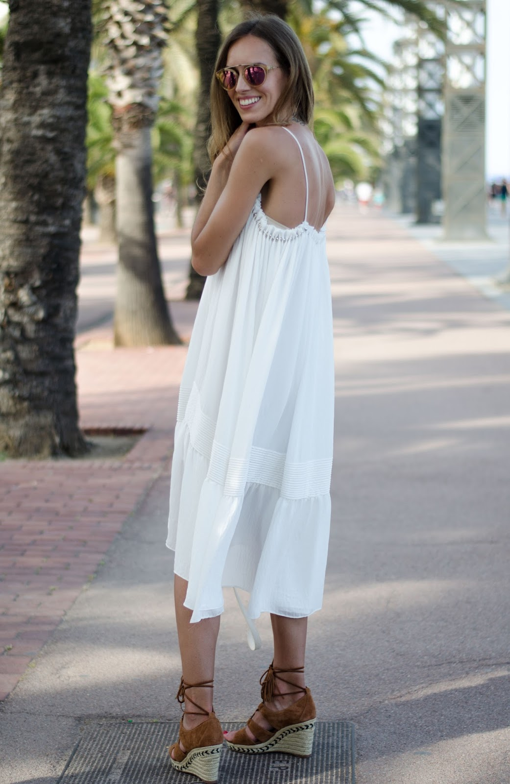 kristjaana mere white summer midi dress lace up wedge espadrilles
