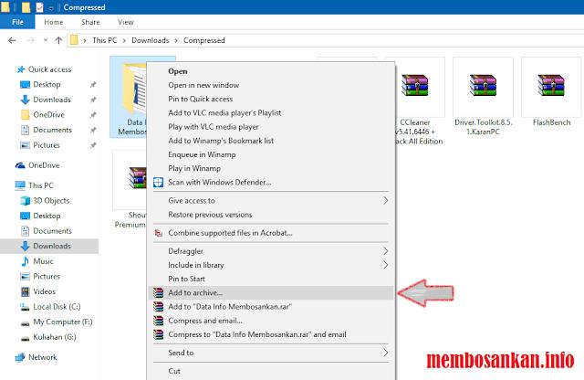 langkah penambahan file arsip