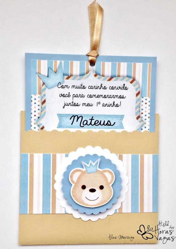 convite artesanal aniversário infantil chá de bebê príncipe urso ursinho menino azul bege