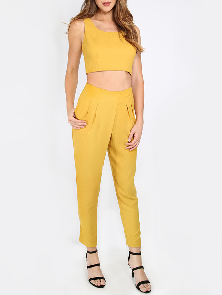 Mustard Zipper Back Crop Top With Pants