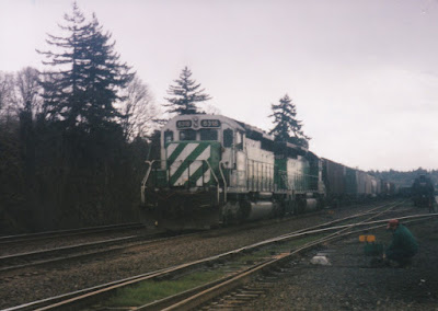 Burlington Northern SD40 #6318 in Kalama, Washington, in March, 1997