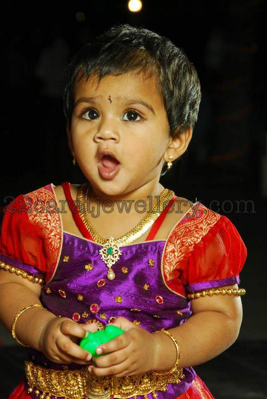 Baby In Gold Necklace With Diamond Pendant Jewellery Designs