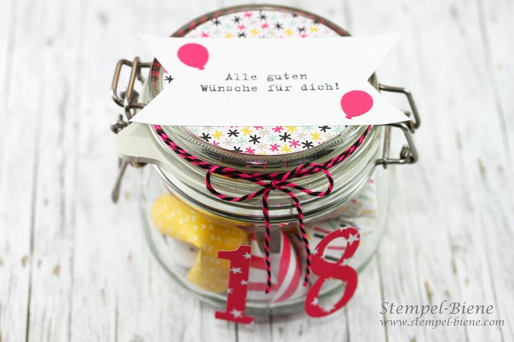 Stempel Biene Ein Glas Voller Gluck Gluckskekse Zum 18 Geburtstag