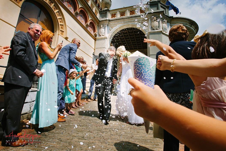 uscita sposi matrimonio villa Cambiaso Arenzano