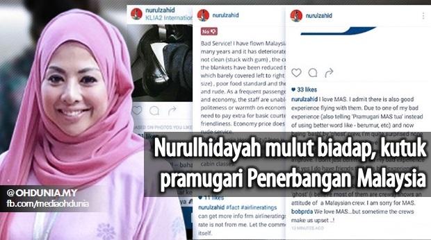 "Malaysia Airlines Bapak Mahal!. Pramugari Pun Dah Tua-Tua."" - Nurulhidayah"