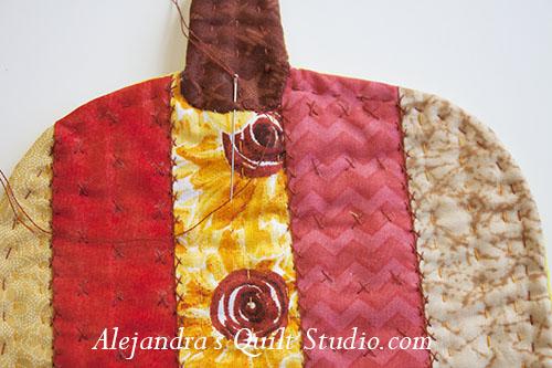 Cómo hacer un tapetito acolchado en forma de Calabaza