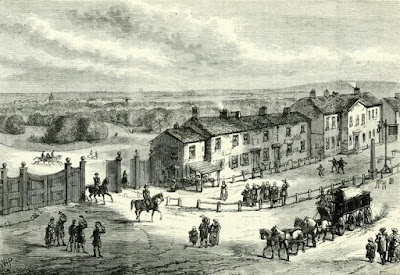 Hyde Park Corner in 1750 from Mr Crace's Collection  from Old and New London by E Walford (1878)