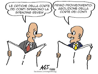 corte dei conti, governo, renzi, spending review, vignetta satira