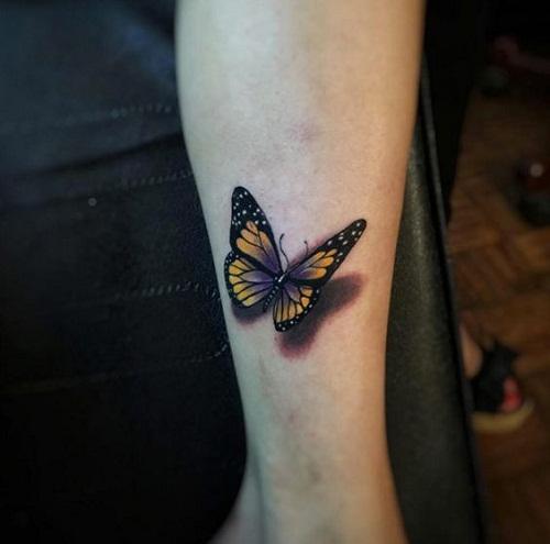 Amarelo e Preto, com um Toque de Violeta Borboleta Braço de Tatuagem