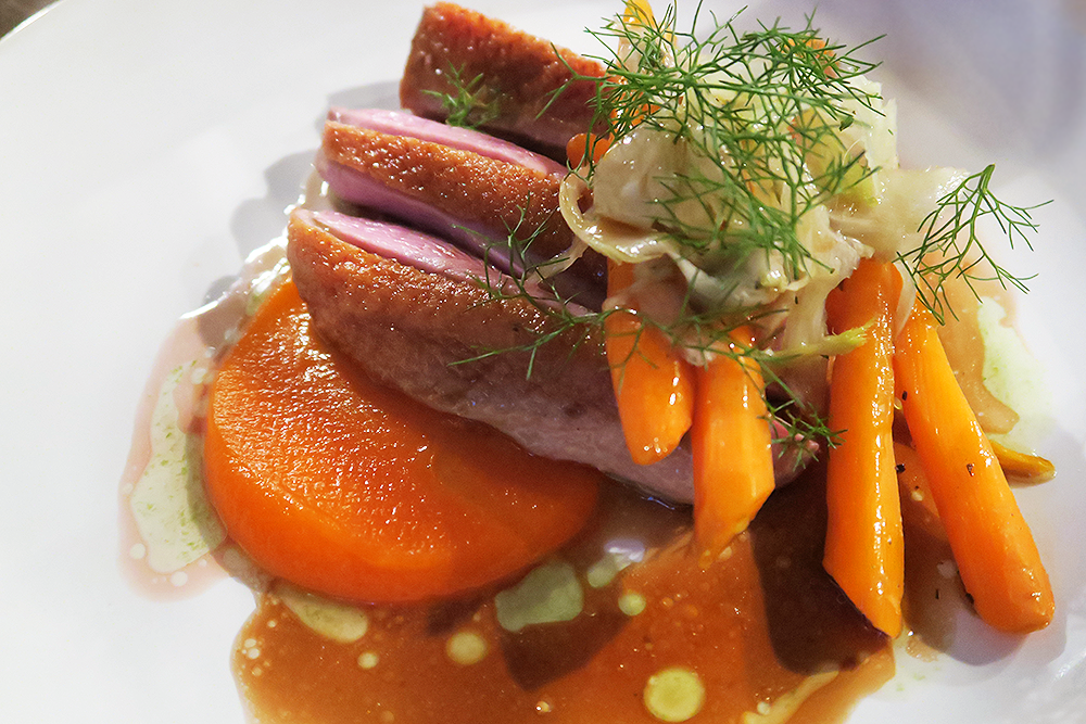 Duck Breast with Carrot Puree, Sauteed Carrots and Fennel
