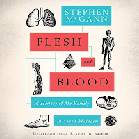 "Flesh and Blood: A History of My Family in Seven Maladies audiobook cover. Scientific drawings of lungs, a skeleton, a heart, a foot, and other things surround the title ""flesh and blood"" highlighted in red."