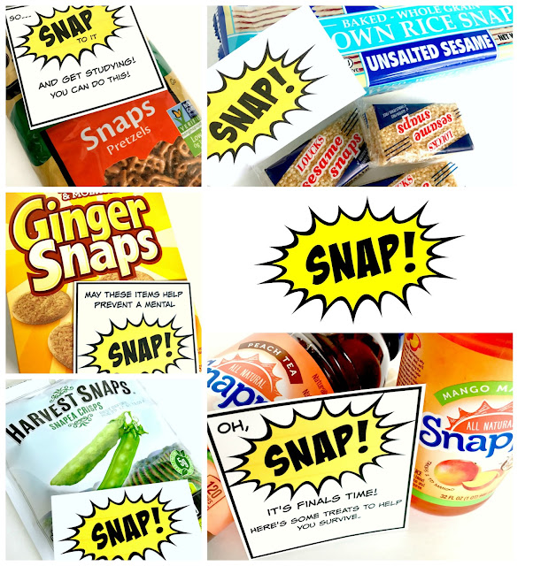 SNAP food items for a college care package.
