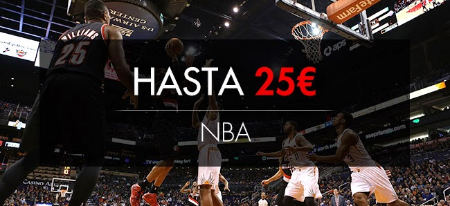 sportium bono 25 euros nba Pacers vs Wizards y Thunder vs Clippers 16 mayo