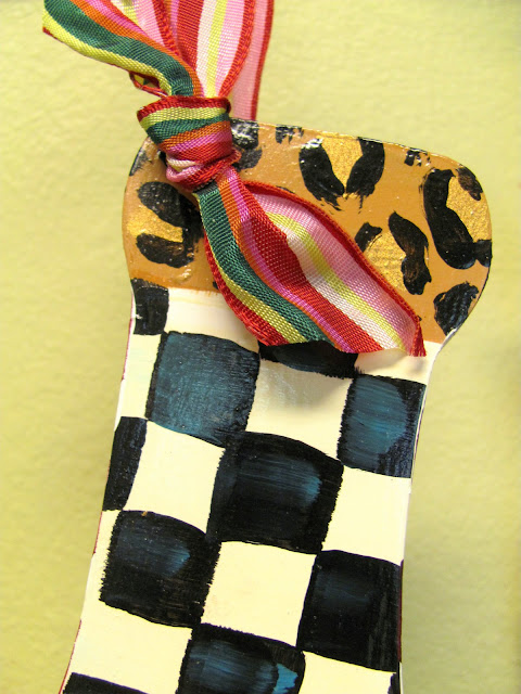 black and white checked stocking ornament