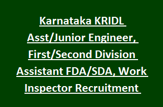 Karnataka KRIDL Asst Junior Engineer, First Second Division Assistant FDA SDA, Work Inspector Recruitment 91 Govt Jobs