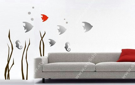 Stylish fish in sea wall stickers for living room walls